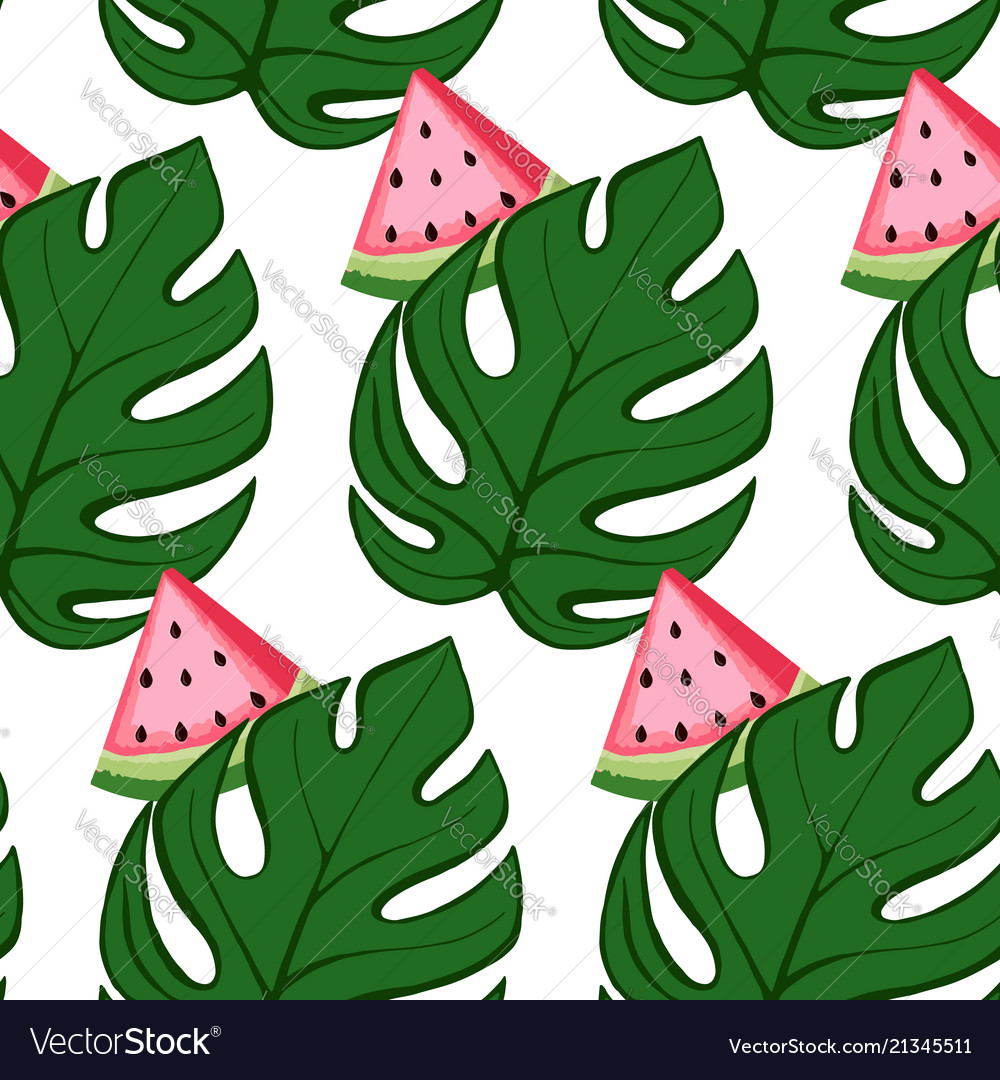 Tropical pattern with watermelon and leaves