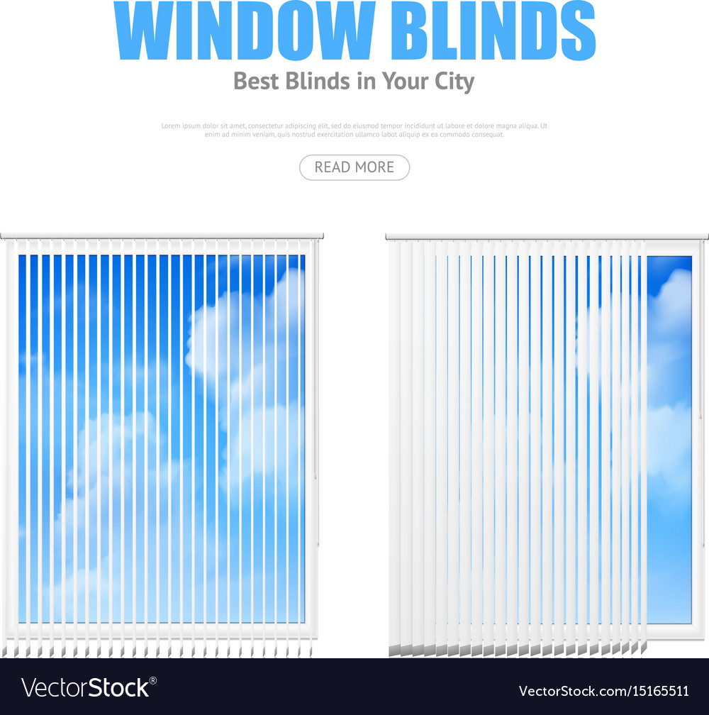 Two windows with blinds overlooking cloudy sky vector image