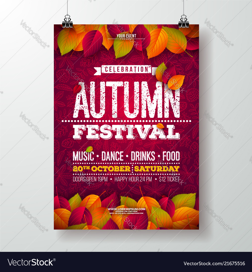 autumn party flyer with falling royalty free vector image