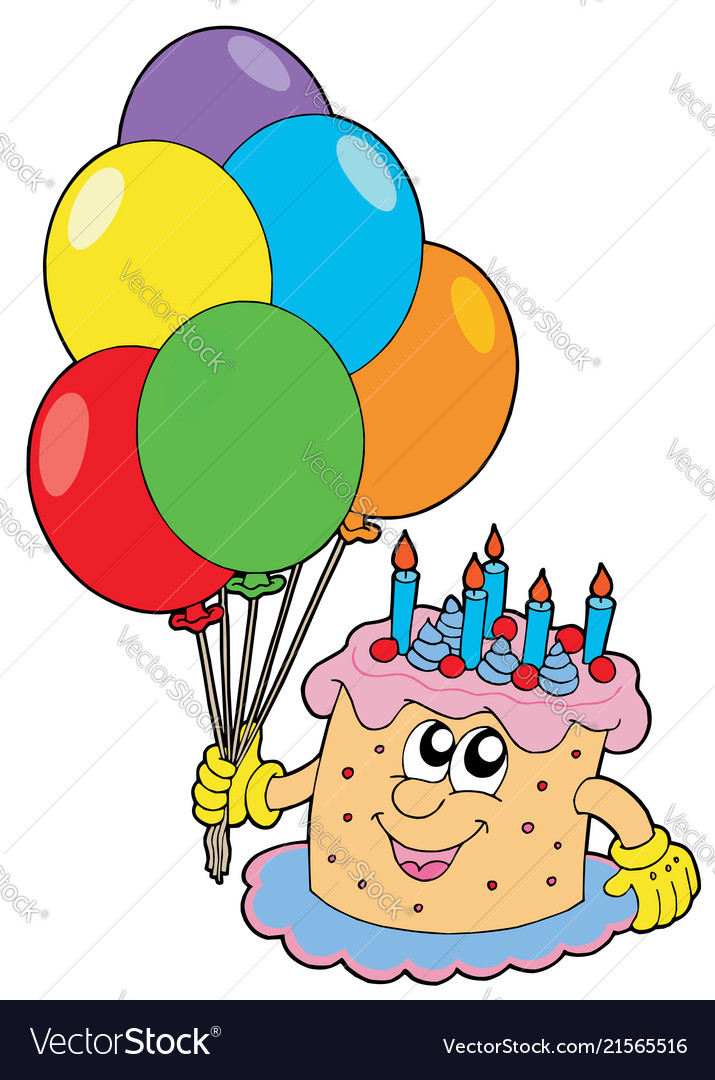 Amazing Birthday Cake With Balloons Royalty Free Vector Image Personalised Birthday Cards Veneteletsinfo