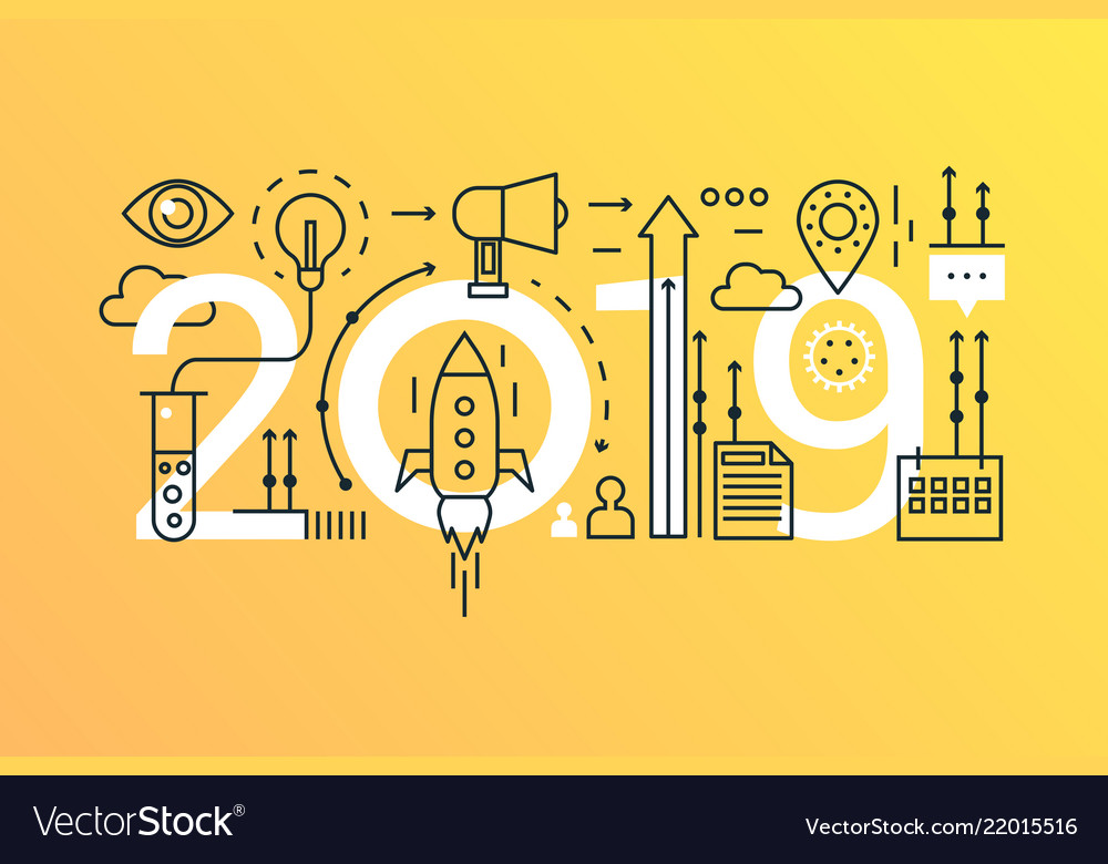 Business startup 2019 word trendy composition