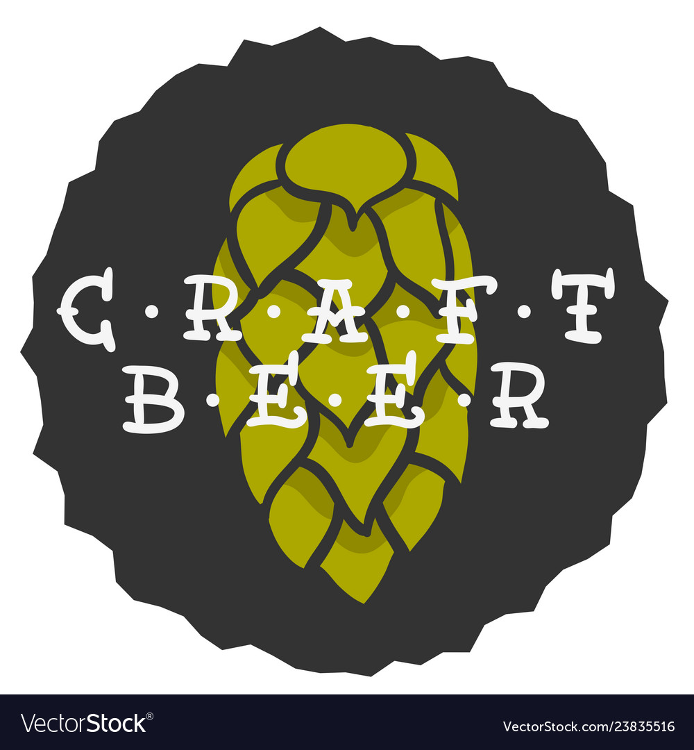 Craft beer hand drawn design with a hop