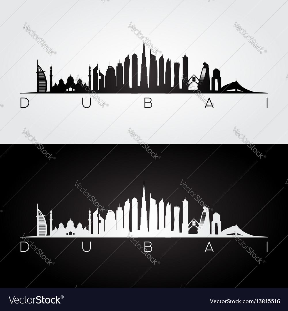 Dubai skyline and landmarks silhouette