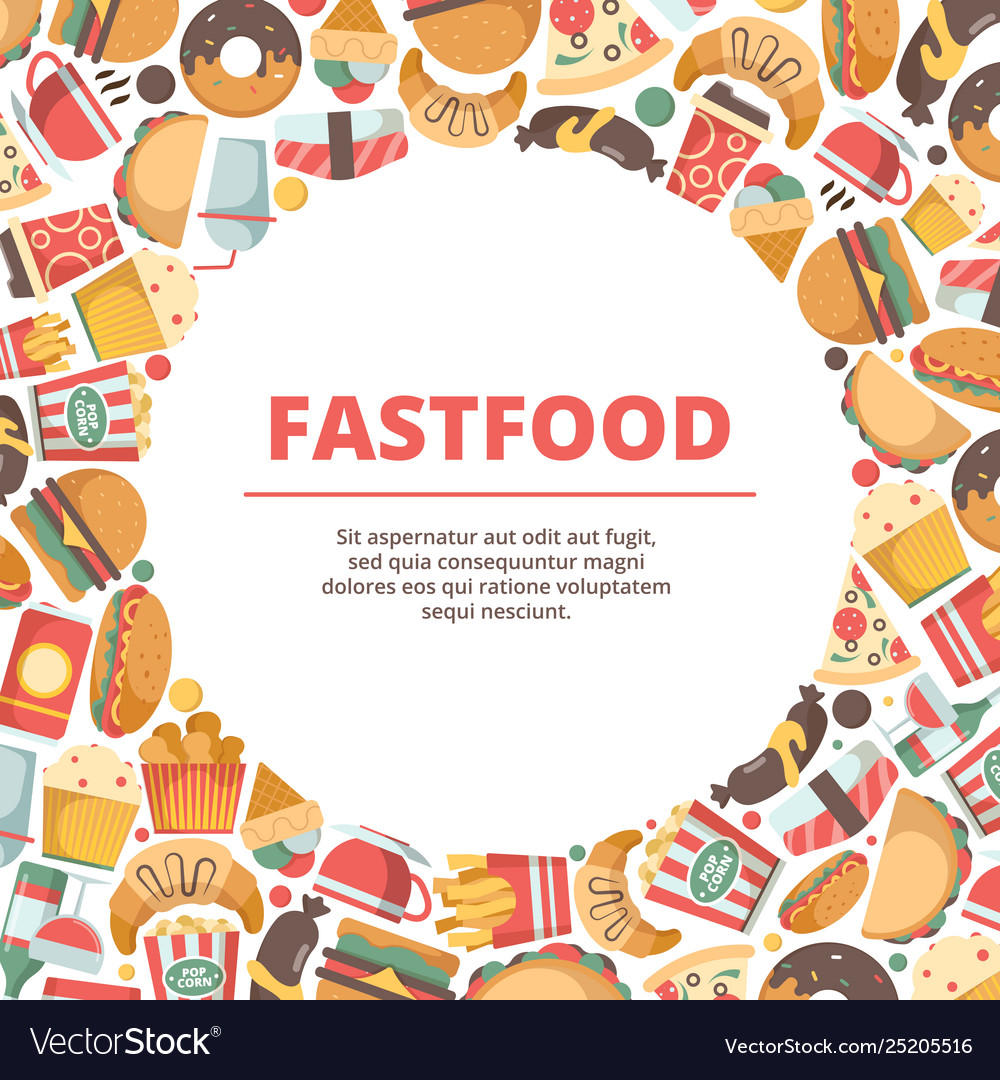 Fast food circle background burger meal cold