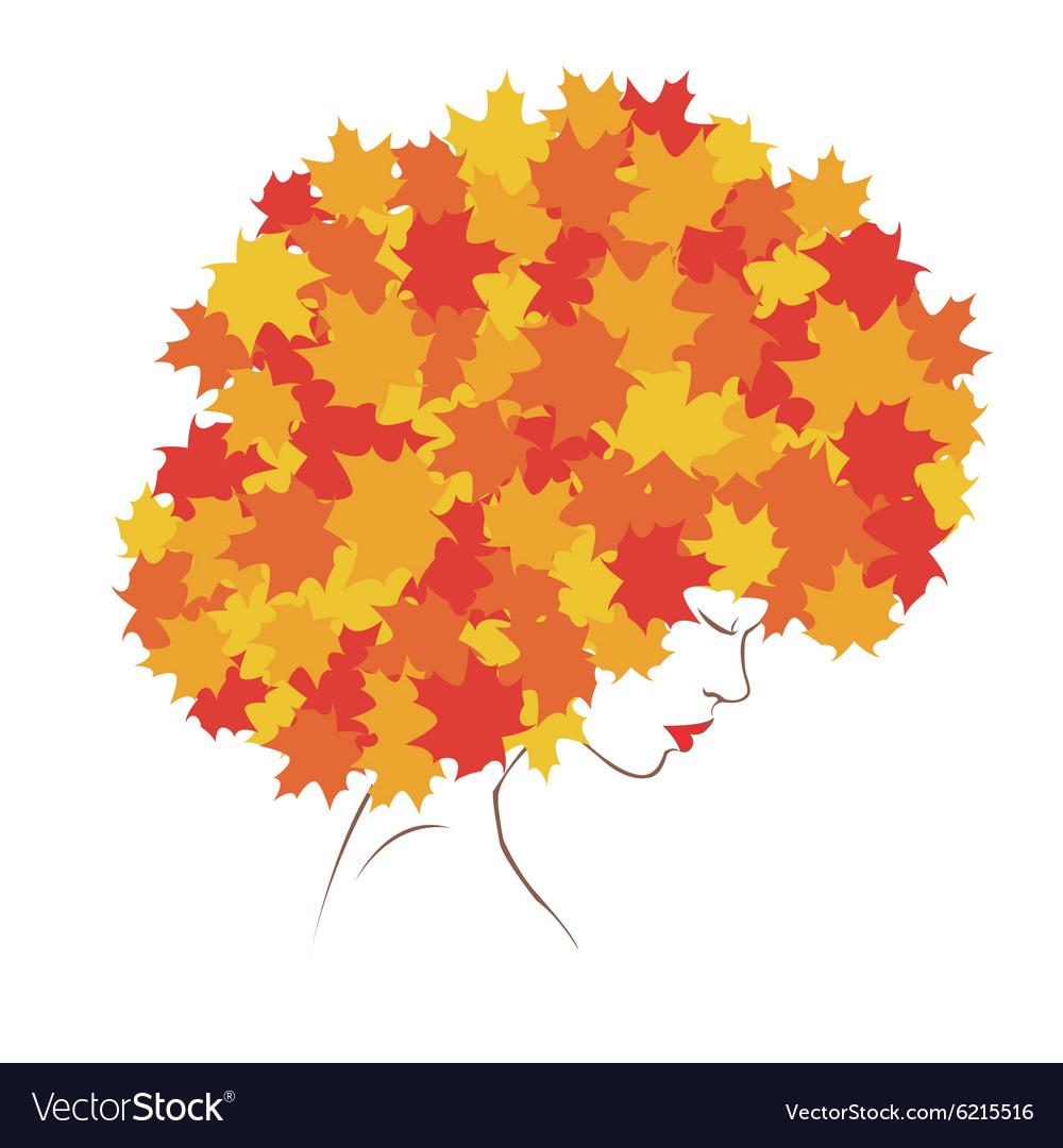 Girl Autumn vector image