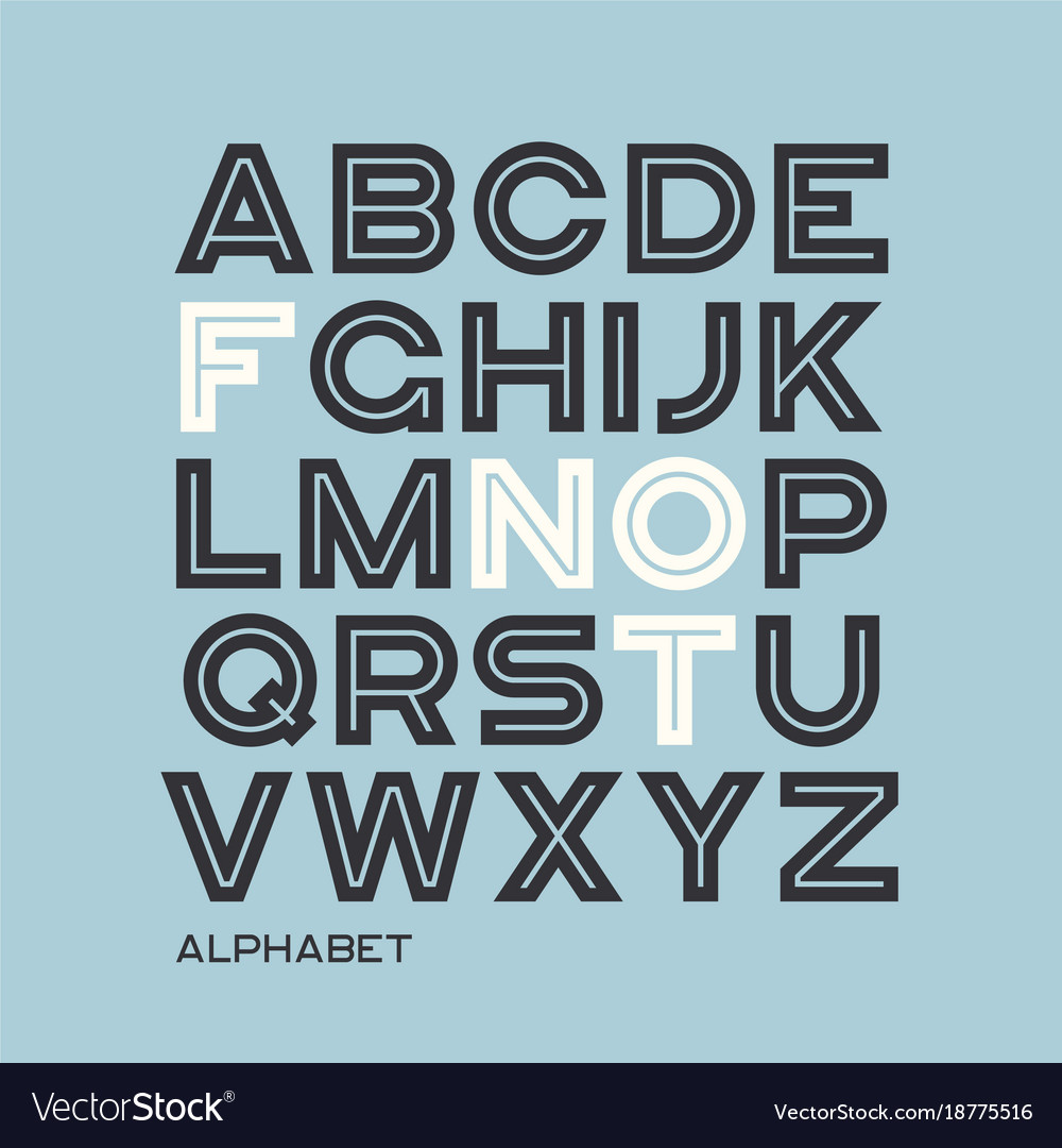 Heavy sans serif typeface design alphabet