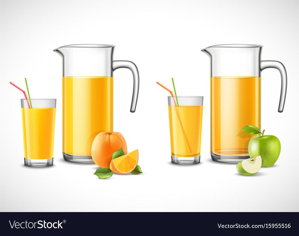 Jugs with apple and orange juice
