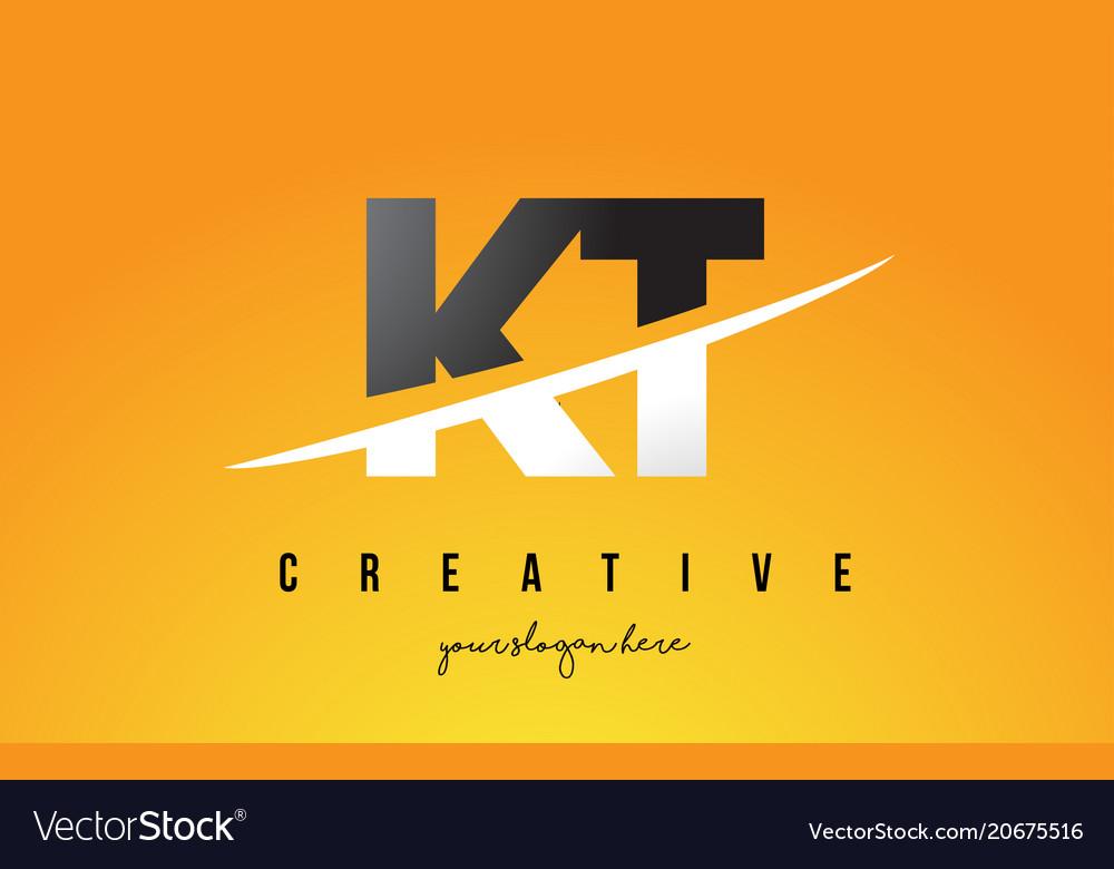 Kt k t letter modern logo design with yellow