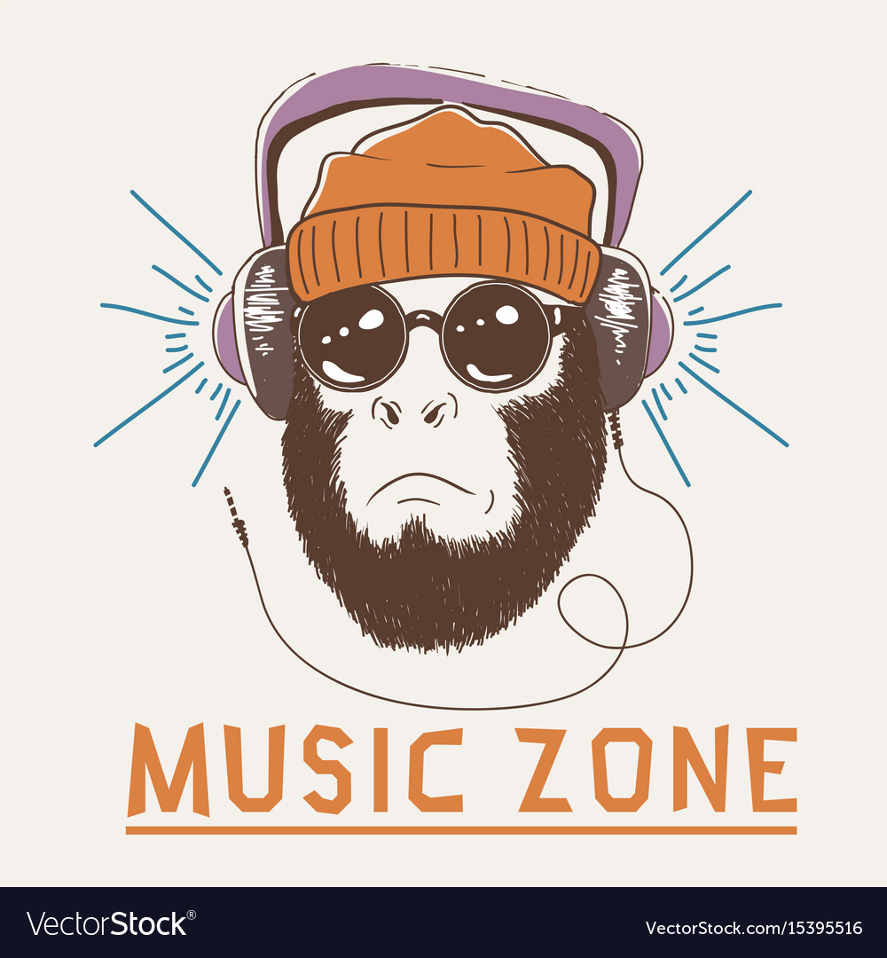 Music fan hipster monkey vector image