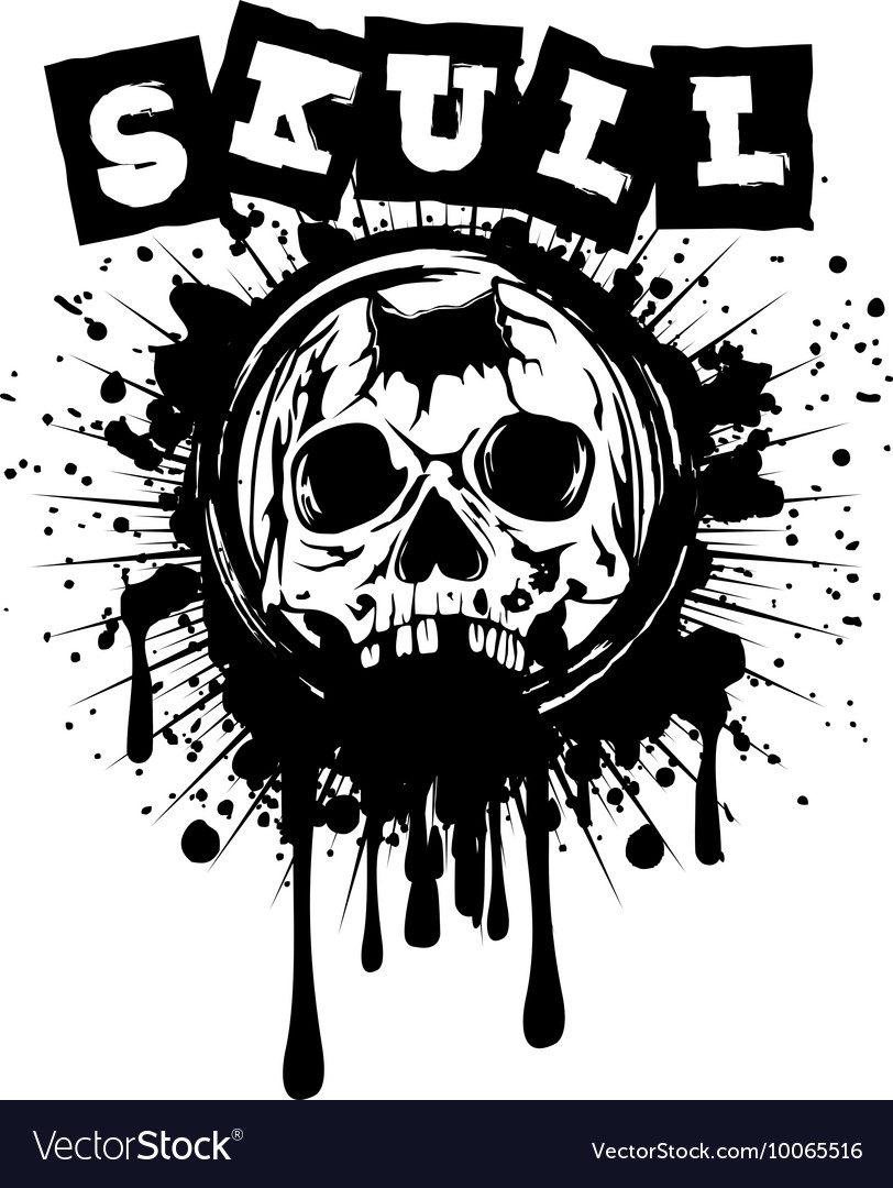 Pierced skull on grunge splash