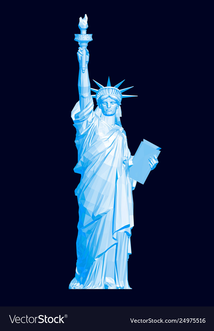 Polygonal statue liberty in blue 3d