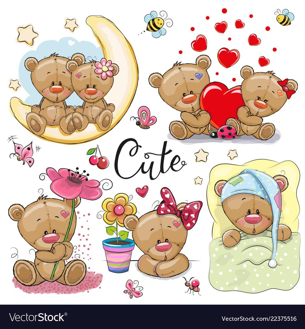 Set cartoon teddy bear on a white background