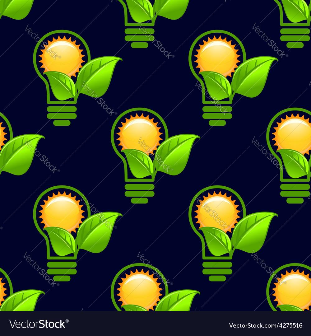 Sun inside lightbulb with leaves seamless pattern