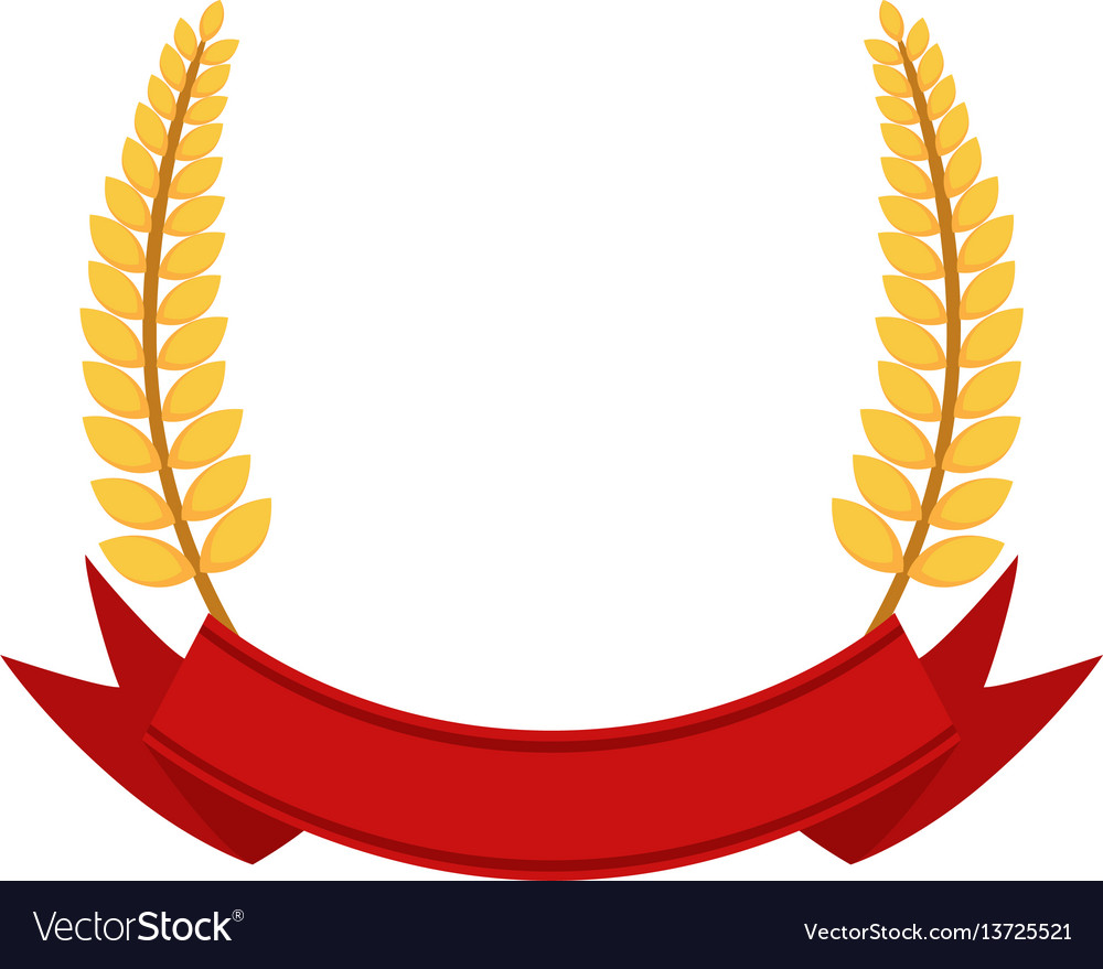Bunch of wheat frame ribbon with organic food flat vector image