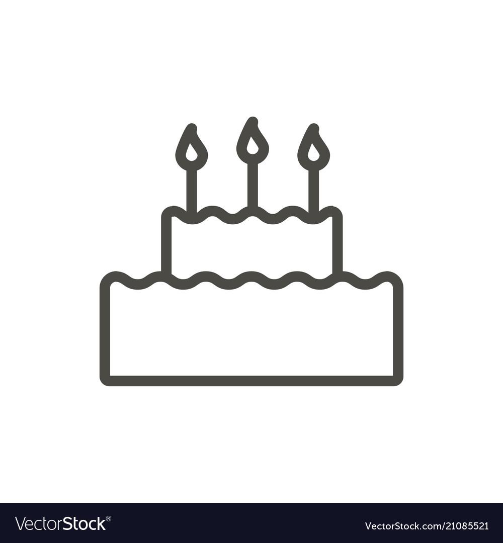 Cake icon line birthday cake symbol