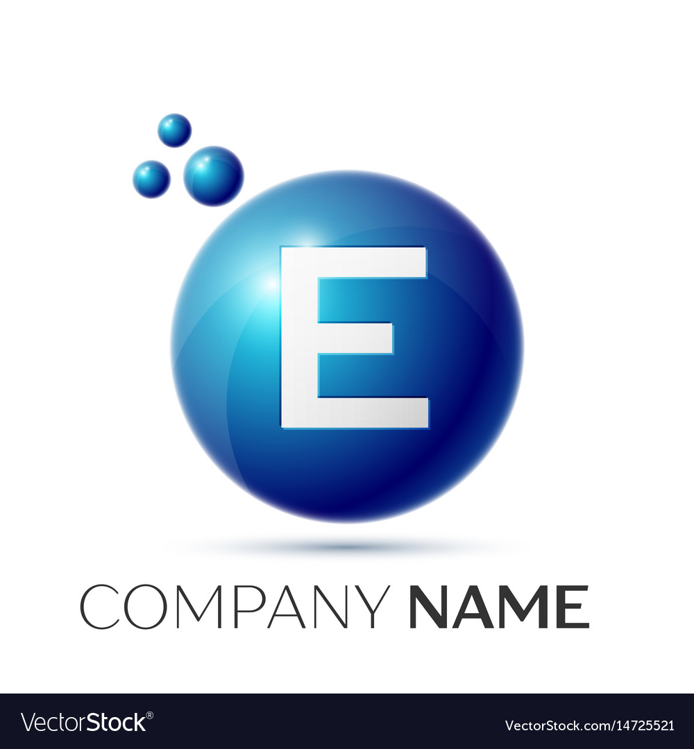 E Letter Splash Logo Blue Dots And Circle Bubble Vector Image