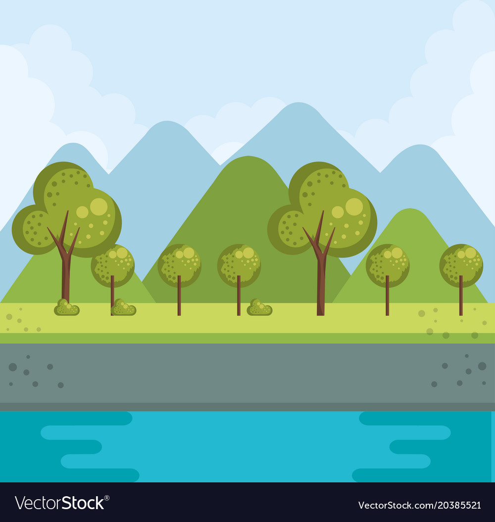 Forest landscape with lake vector image