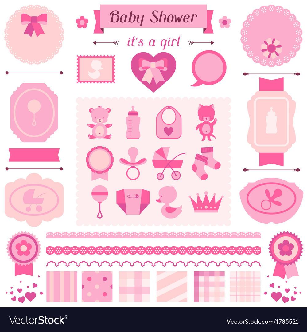 Girl baby shower set of elements for design