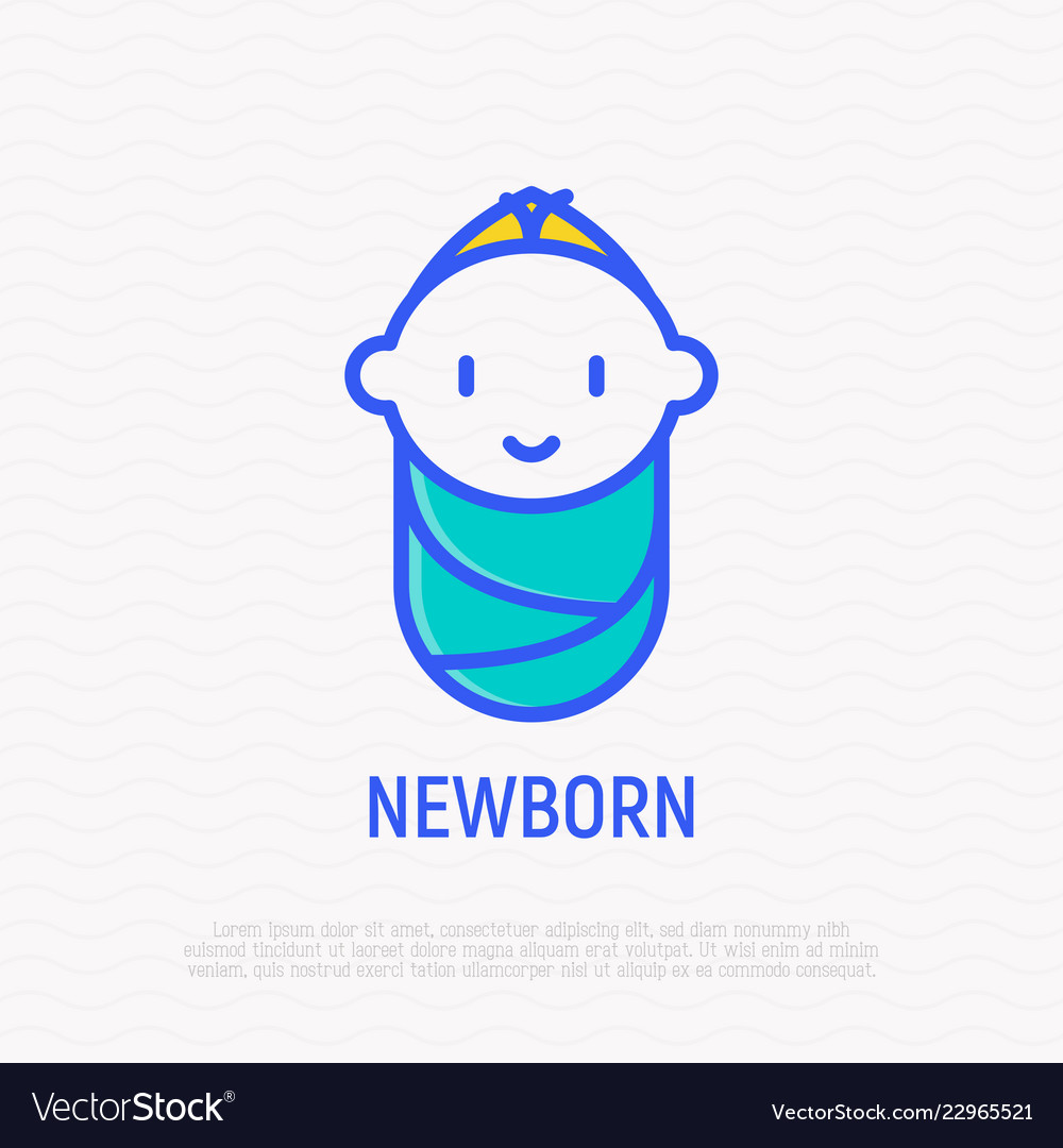Smiling newborn thin line icon