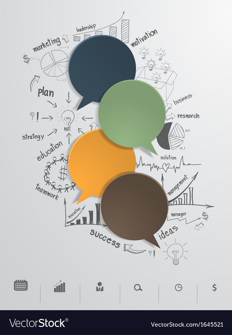 Speech bubble with drawing business plan