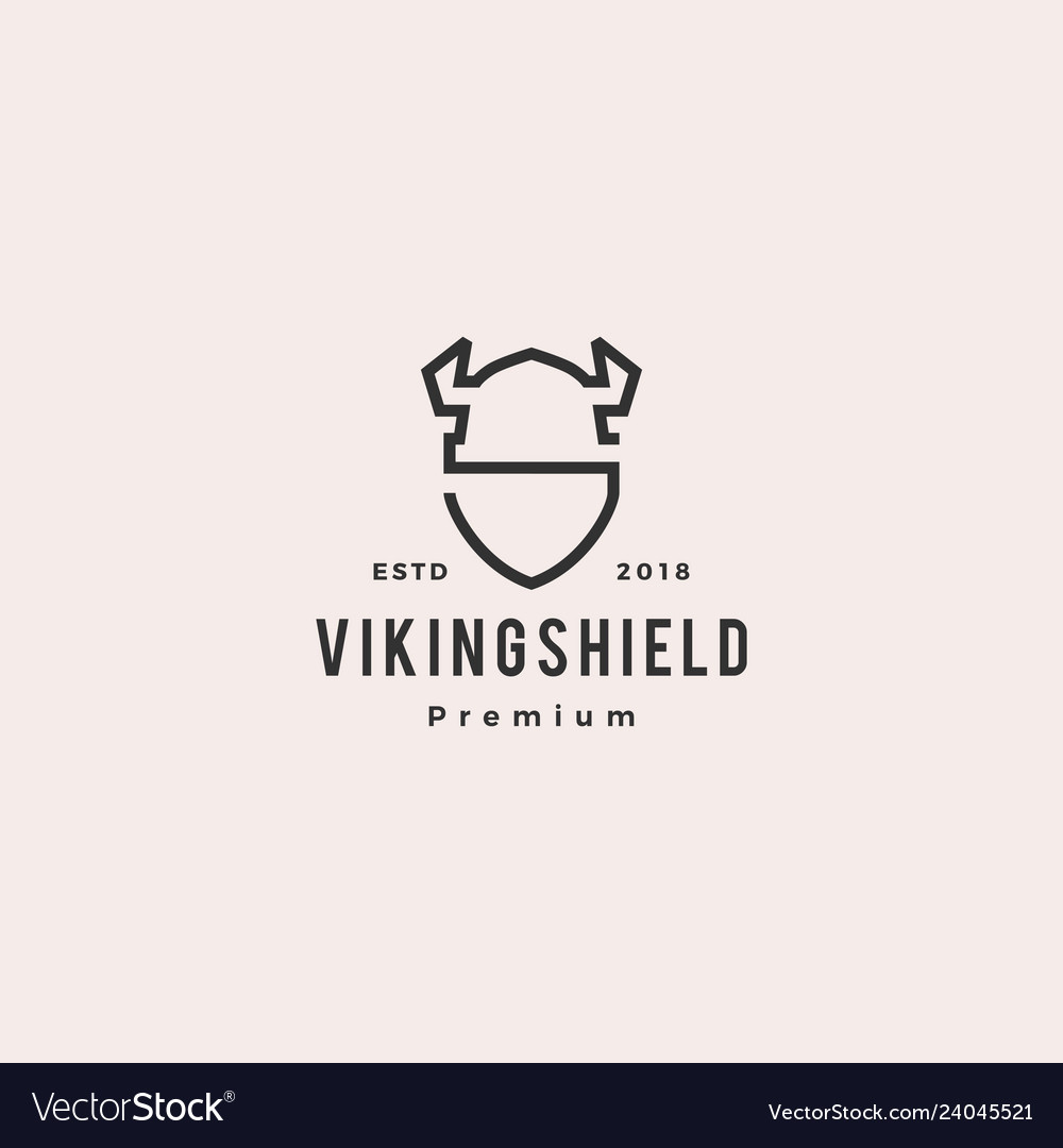Viking shield logo hipster retro vintage label