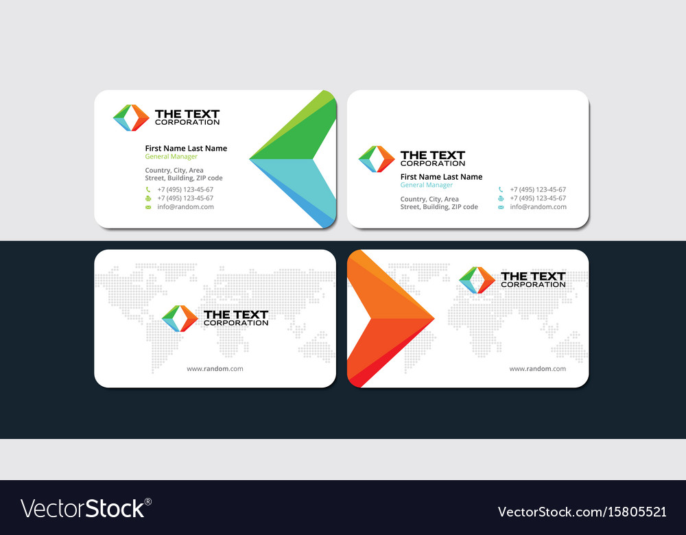 White business card with colored arrows Royalty Free Vector