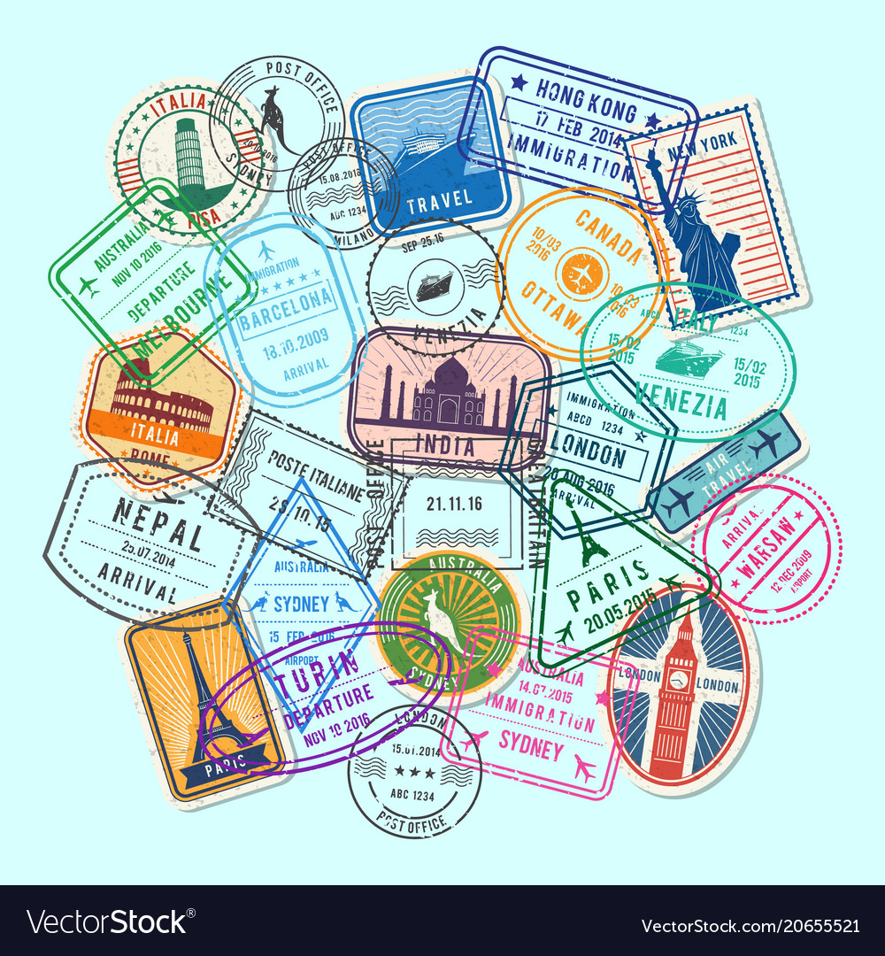 World post stamp marks vector image