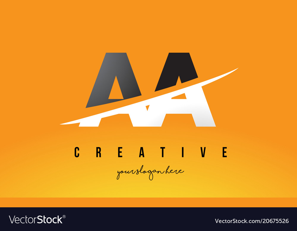 Aa A Letter Modern Logo Design With Yellow