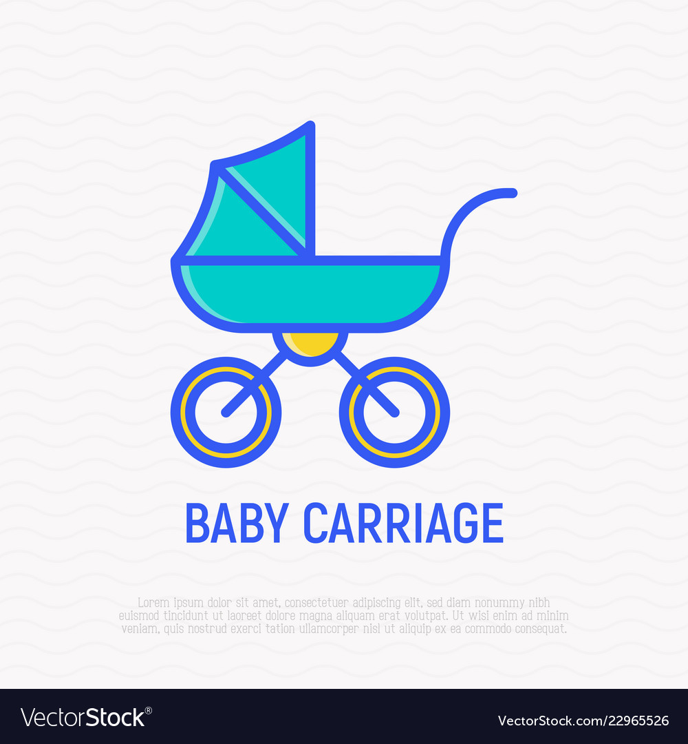Baby carriage thin line icon