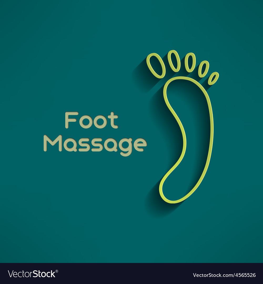 Bright foot massage sign and logo on dark green