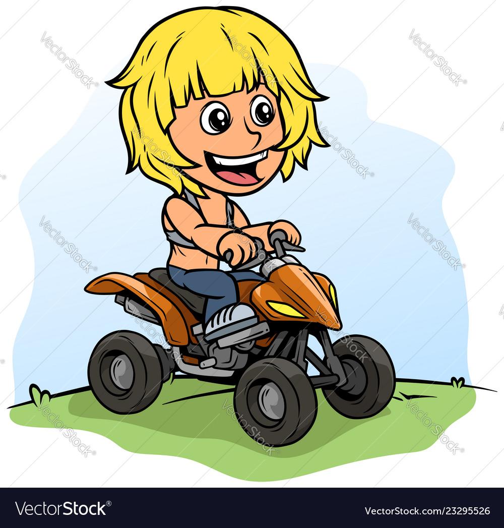 Cartoon boy character driving quad motorbike