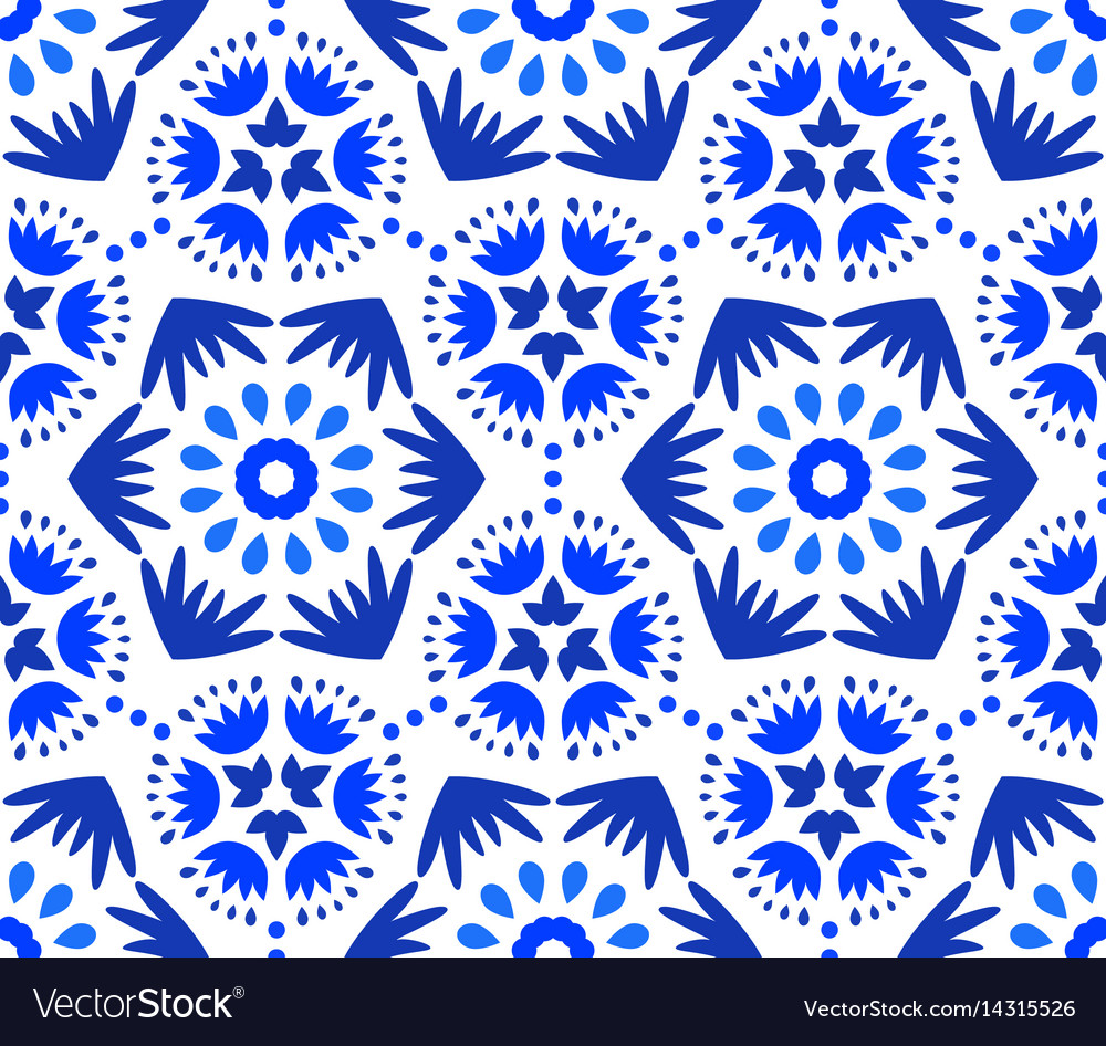 Catchy indigo blue flower pattern vector image