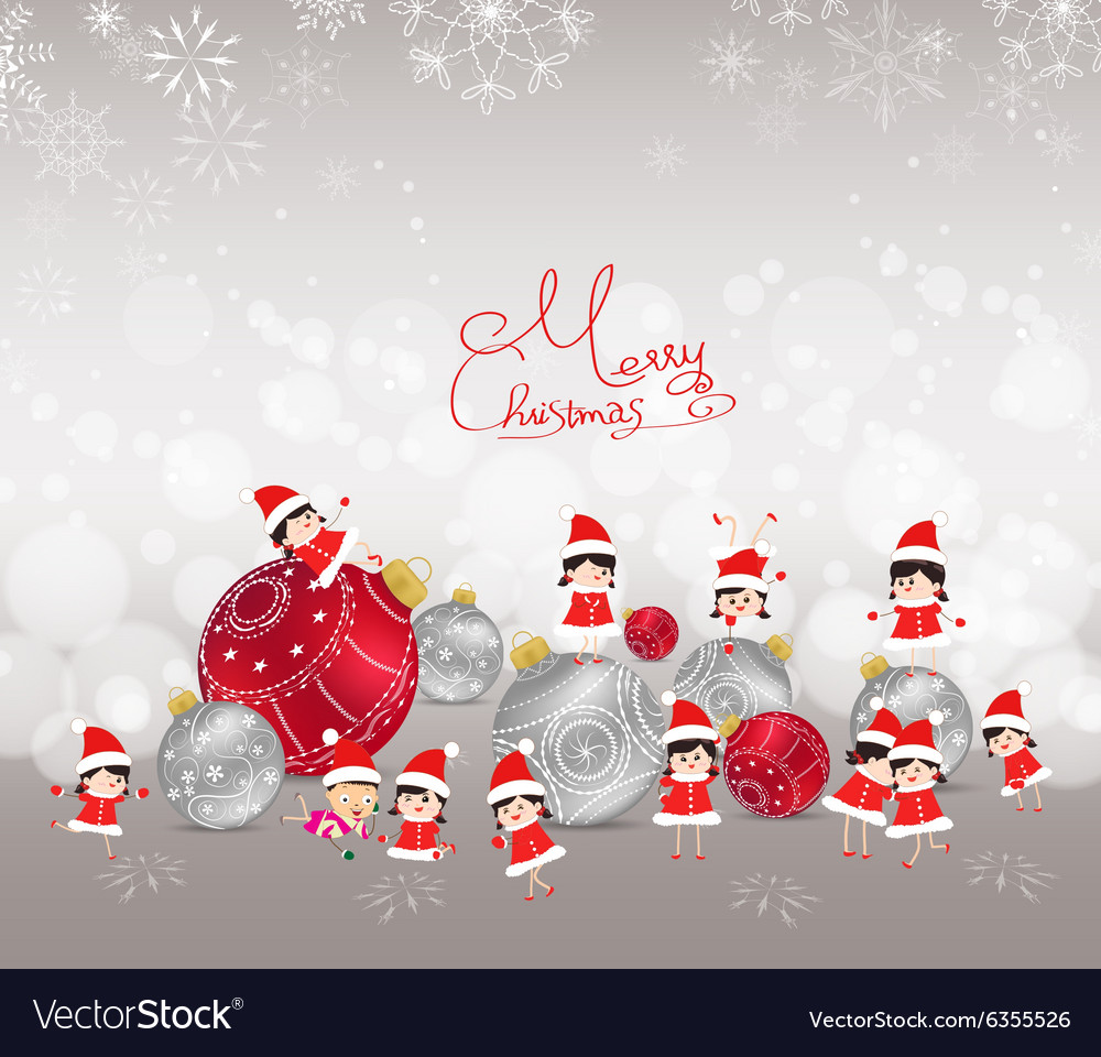 Christmas background with bauble kids snow and Vector Image