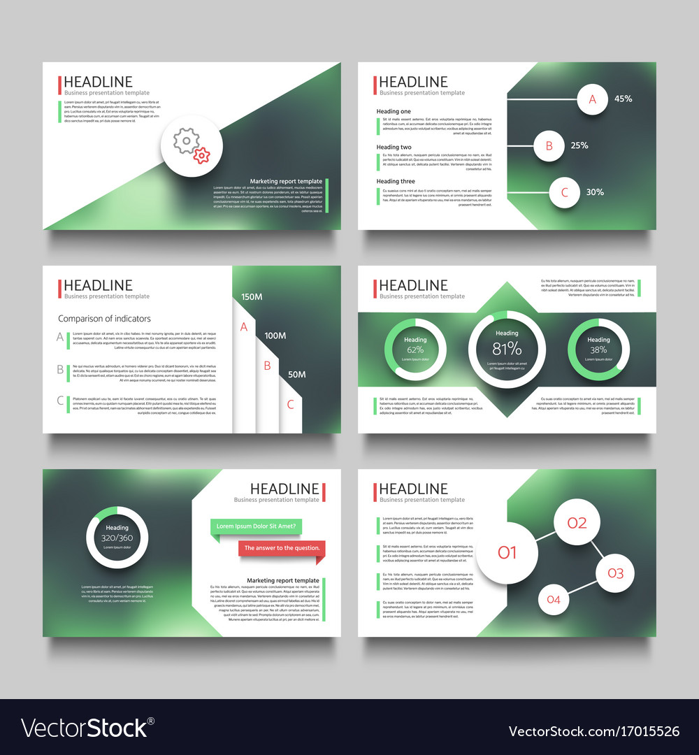 company presentation booklet pages with abstract vector image