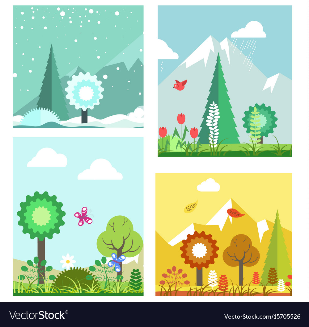 Forest in different seasons Royalty Free Vector Image