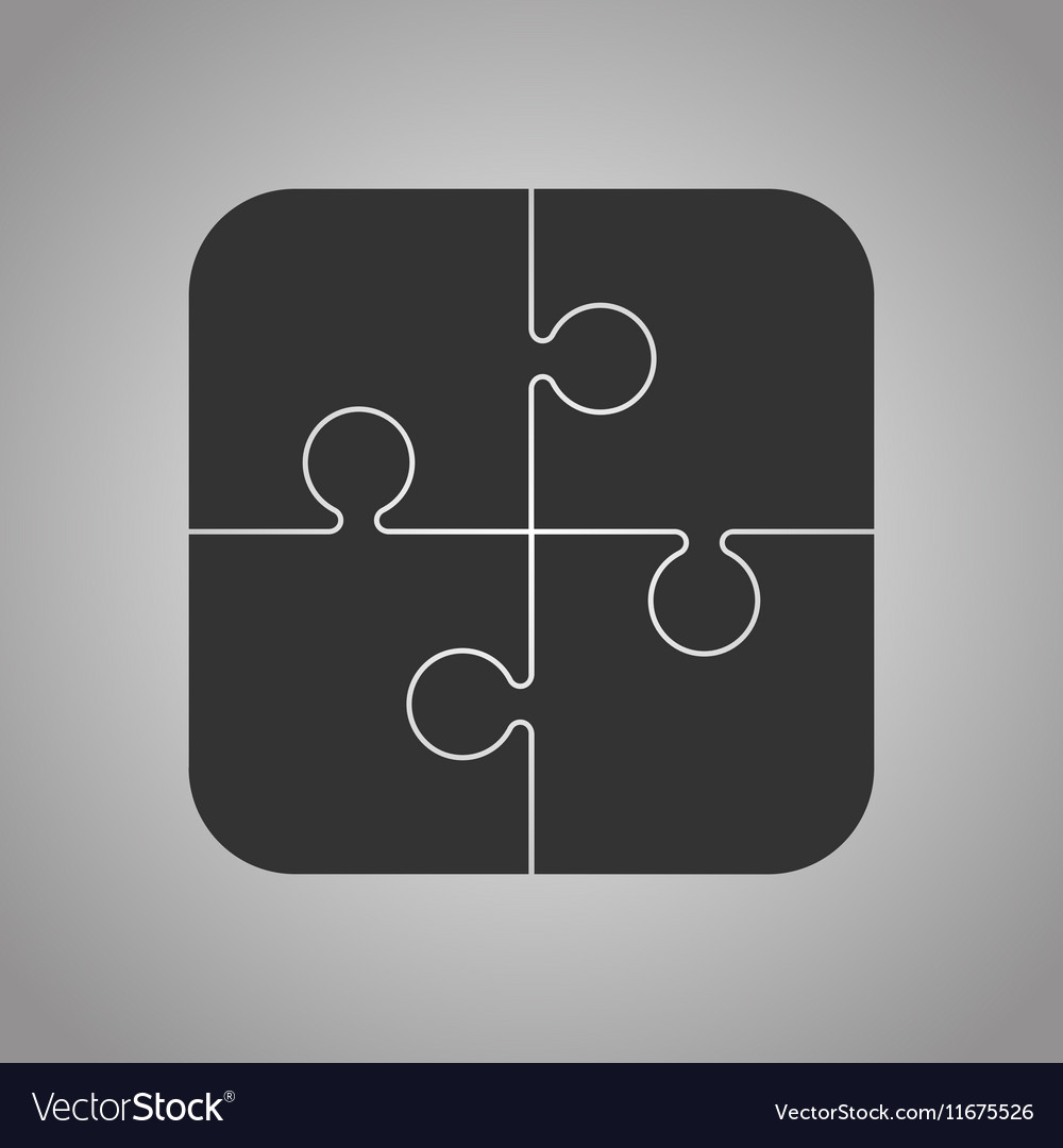 Four Black Piece Puzzle Round Infographic 4 Step vector image