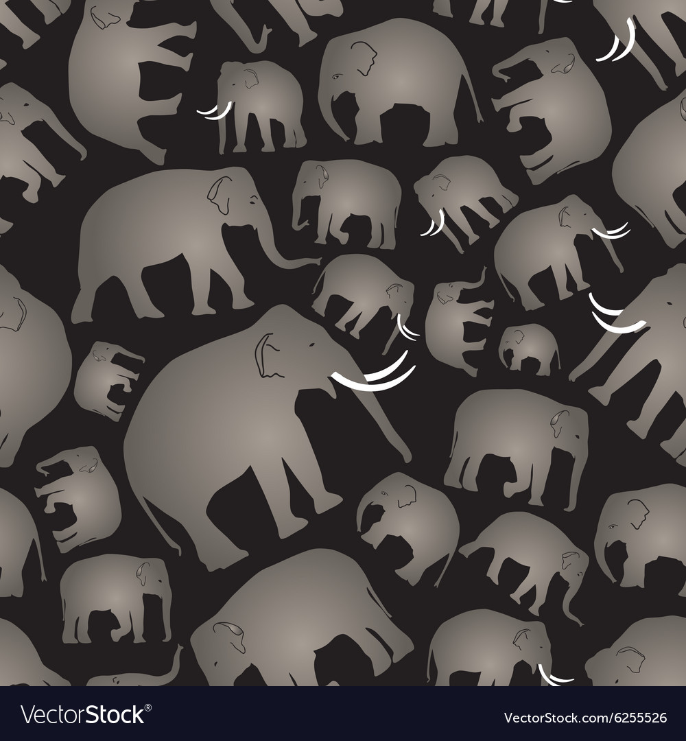 Gray elephants simple seamless black pattern eps10