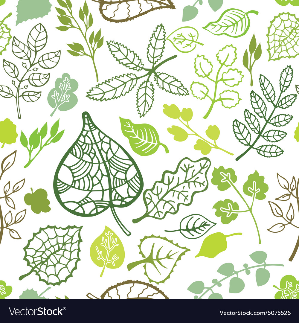 Green leavesbranches outline seamless pattern