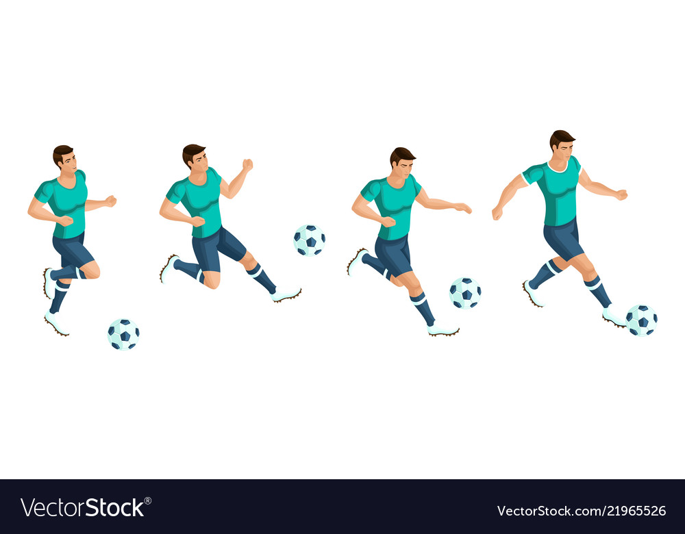 Isometrics soccer player playing football the