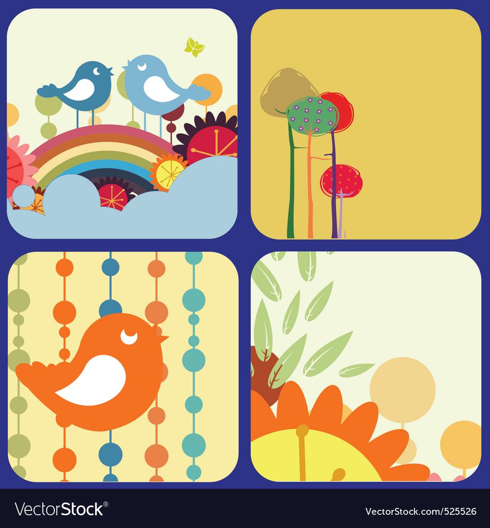 Retro flowery design greeting cards vector image