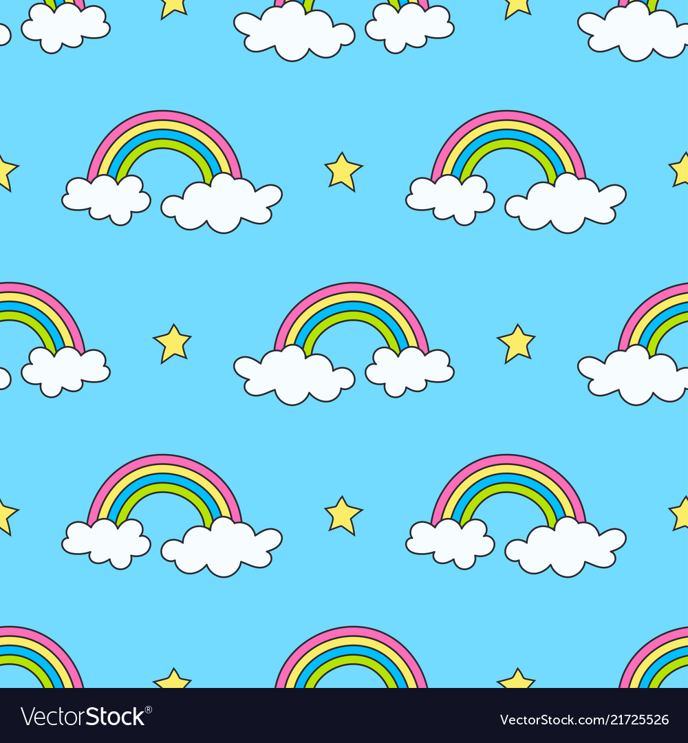 Sky pattern with rainbows stars and clouds