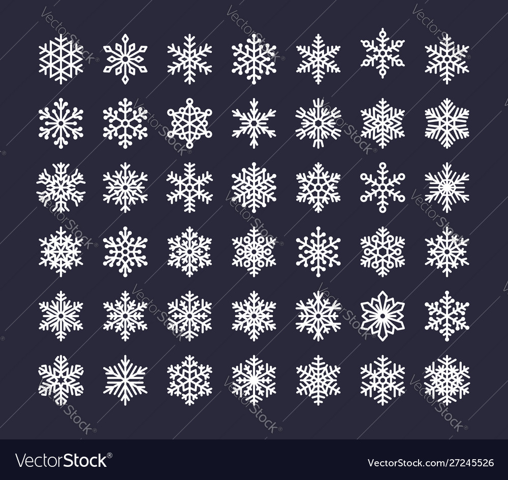 Snowflake flat icons set collection cute