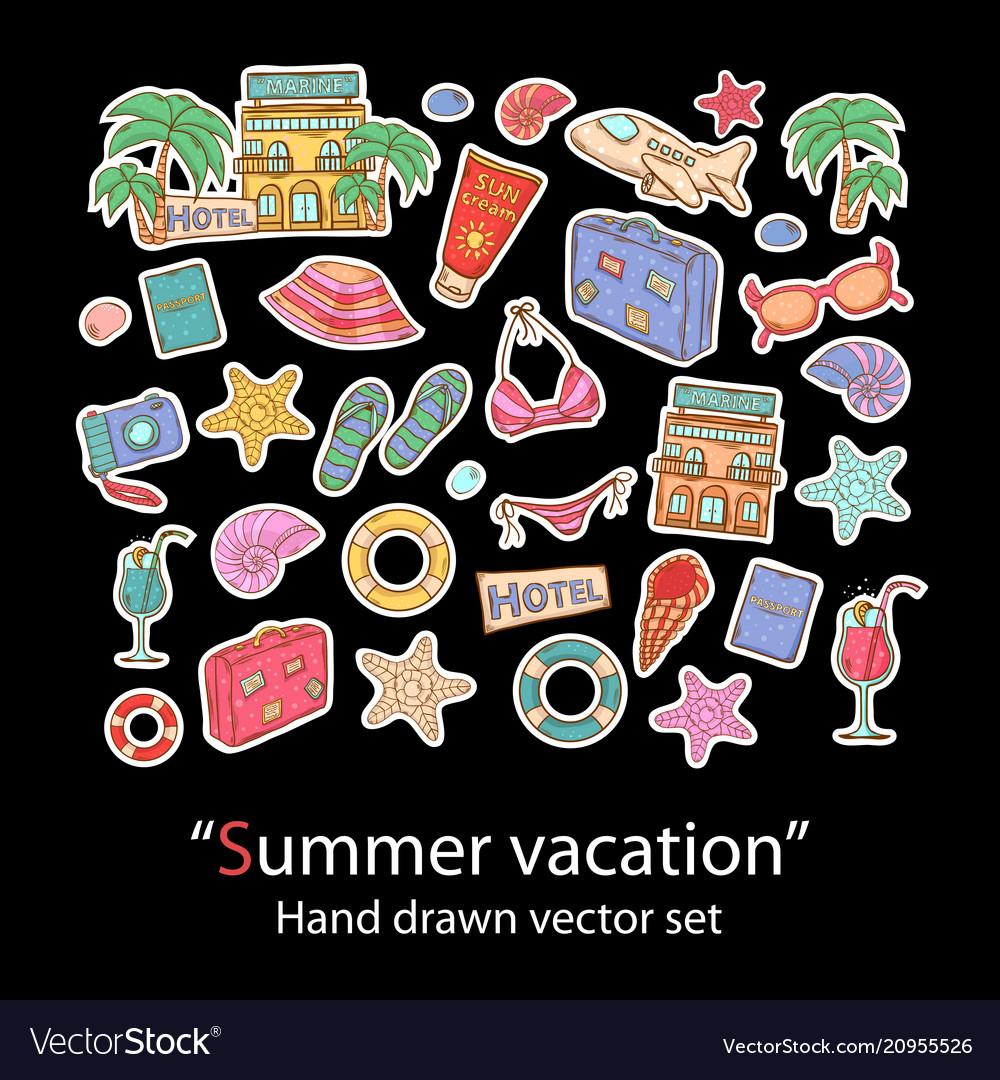 Summer vacation hand draw set