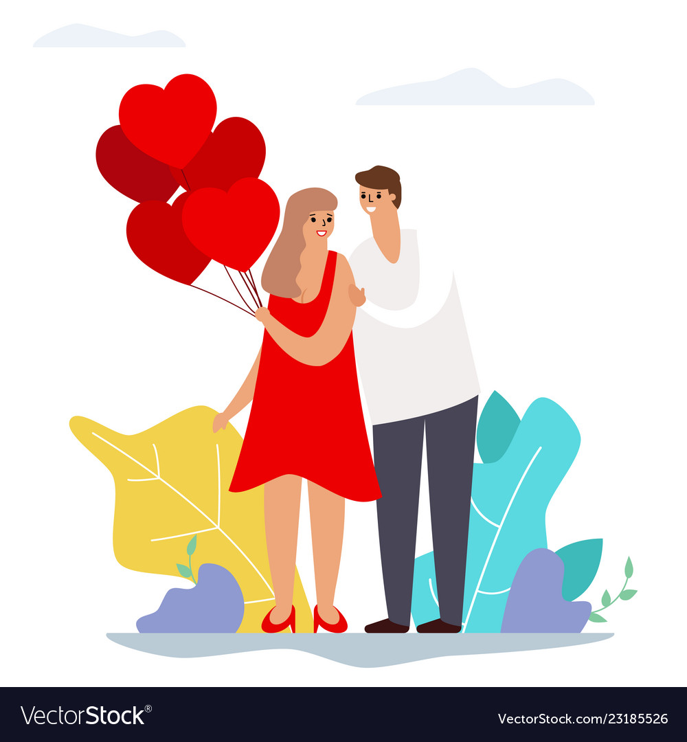 Valentines day couple love heart balloons modern