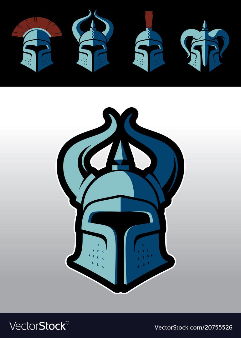 Warrior helmet logo set