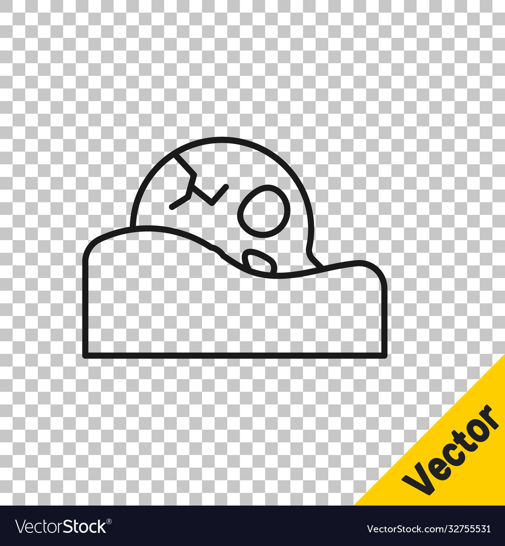 Black line human skull in ground icon isolated