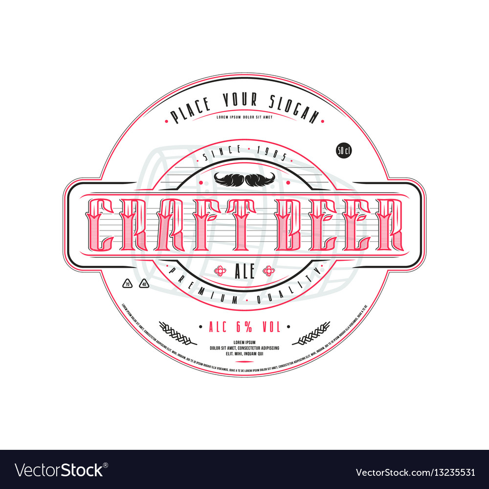 Beer Label Template | Craft Beer Label Template In Vintage Style Vector Image