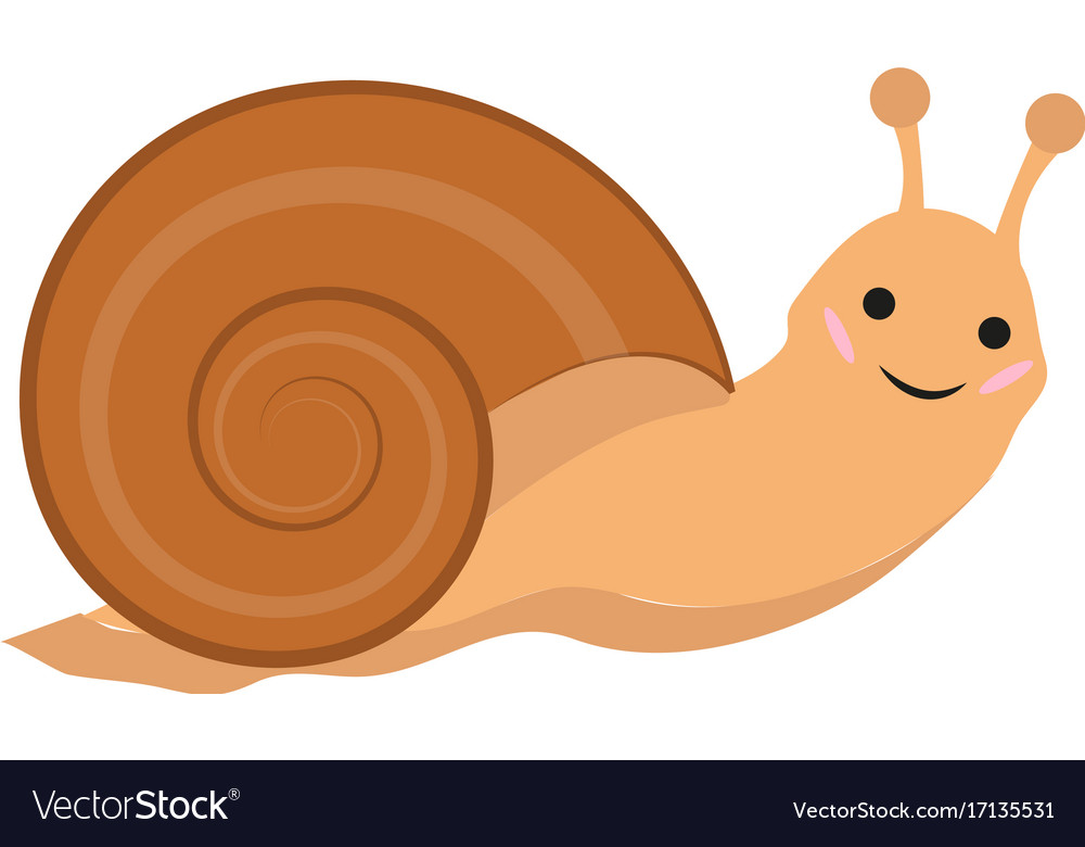 Cute snail icon flat or cartoon style isolated on