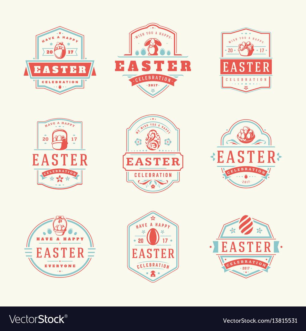 Easter badges and labels design elements