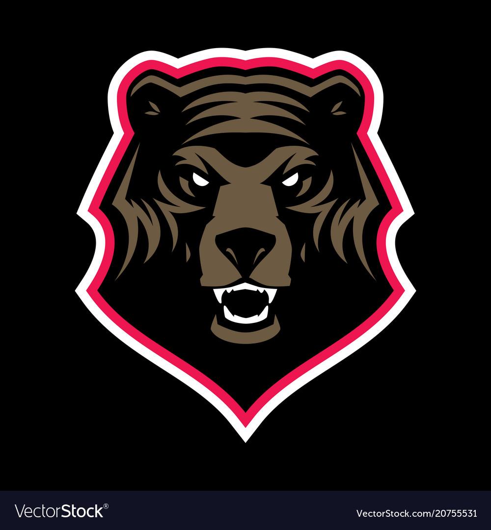 Grizzly bear head mascot
